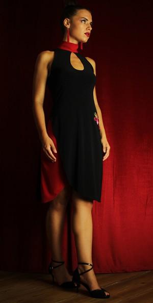 tango mode kleid schwarz rot stehkragen