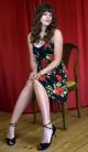 tangokleid, rosenmuster, größe 40